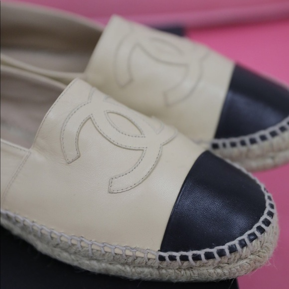 CHANEL Shoes - Chanel Tan Black Leather Espadrilles